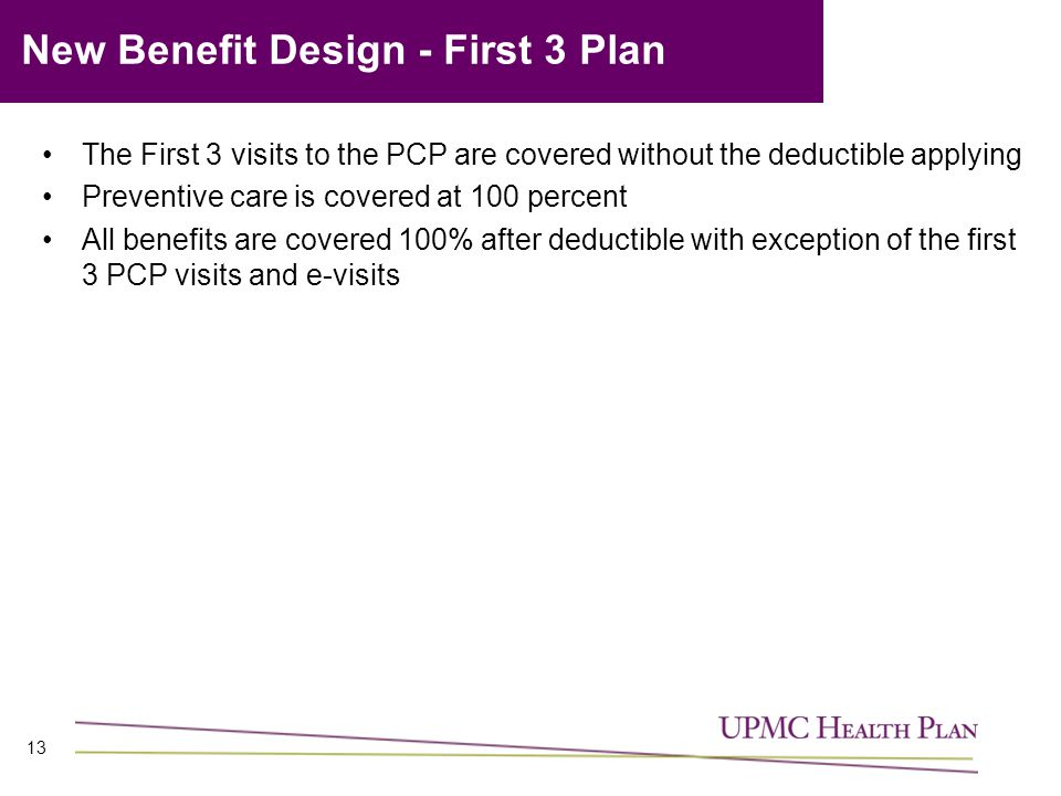 New Benefit Design - First 3 Plan