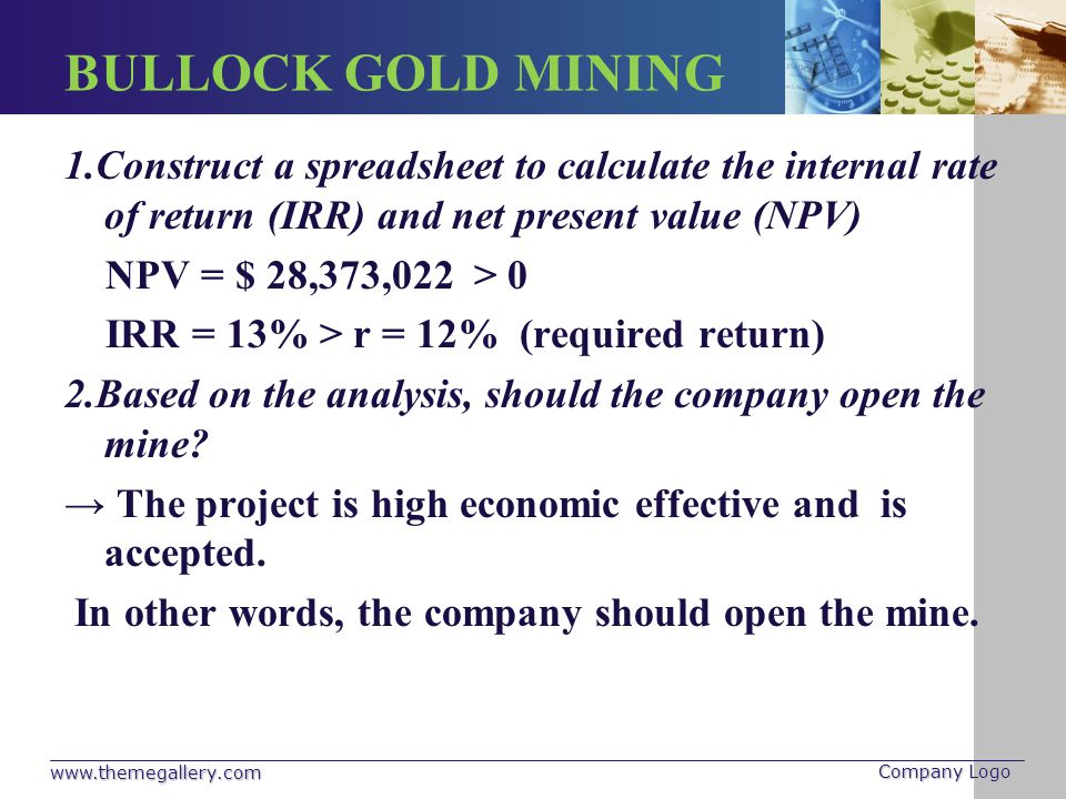 BULLOCK GOLD MINING 1.Construct a spreadsheet to calculate the internal rate of return (IRR) and net present value (NPV)