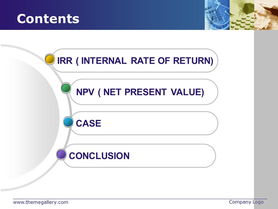 Contents IRR ( INTERNAL RATE OF RETURN) NPV ( NET PRESENT VALUE) CASE