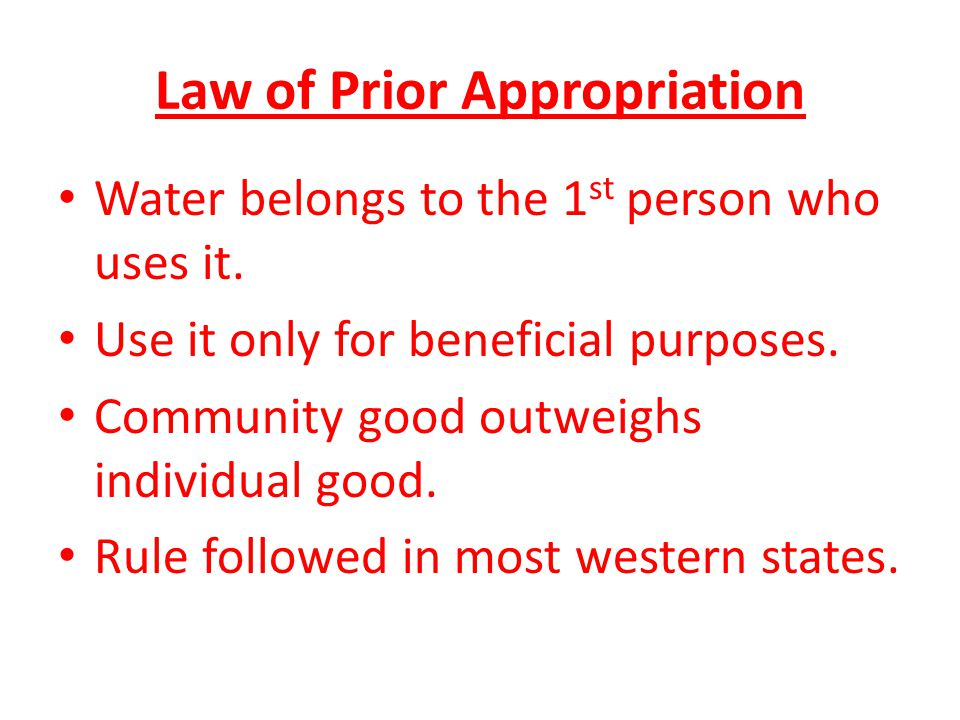 Law of Prior Appropriation