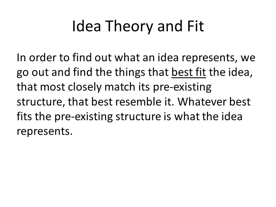 Idea Theory and Fit