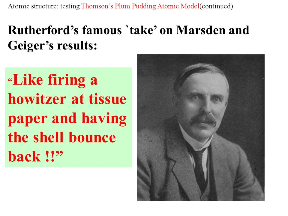 Rutherford's famous `take' on Marsden and Geiger's results: