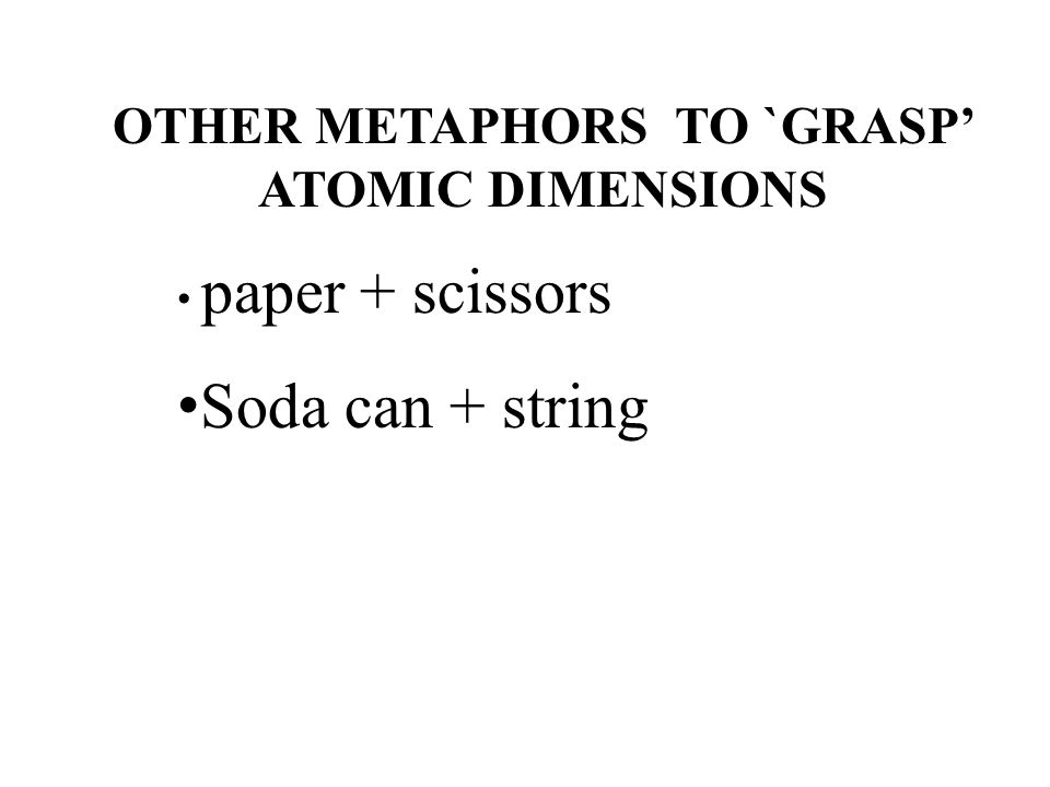 OTHER METAPHORS TO `GRASP' ATOMIC DIMENSIONS