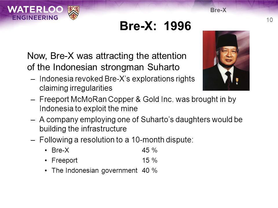 Bre-X Bre-X: 1996. Now, Bre-X was attracting the attention of the Indonesian strongman Suharto.