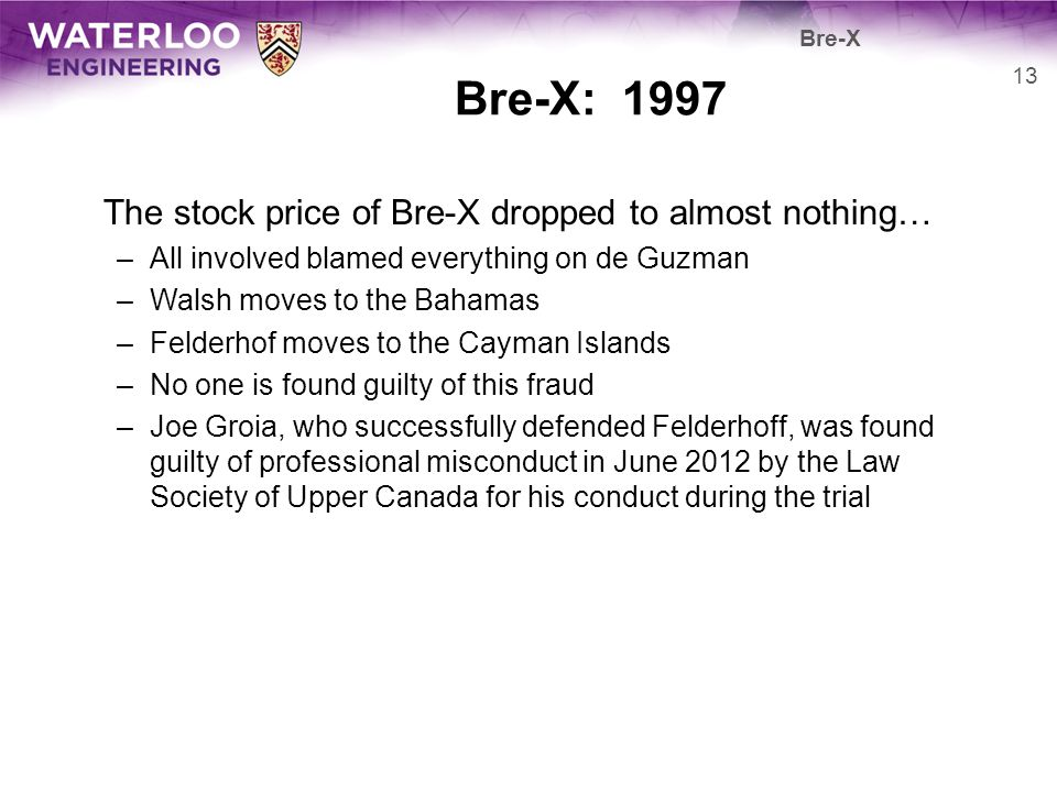 Bre-X: 1997 The stock price of Bre-X dropped to almost nothing…