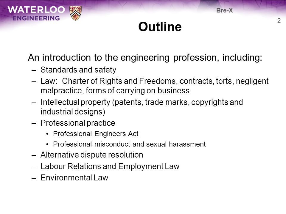 Outline An introduction to the engineering profession, including: