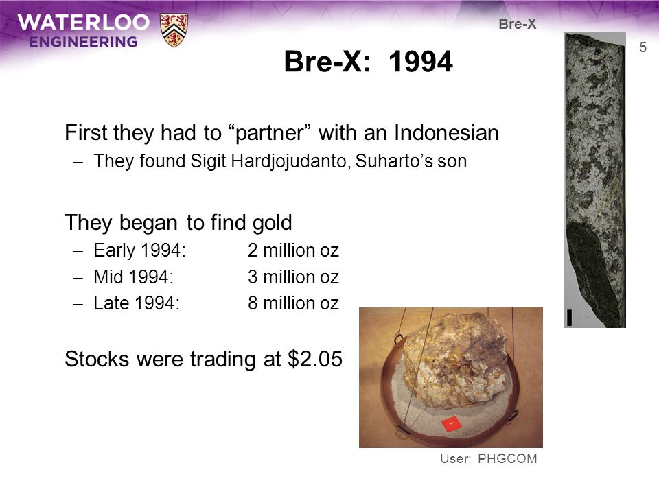 Bre-X: 1994 First they had to partner with an Indonesian