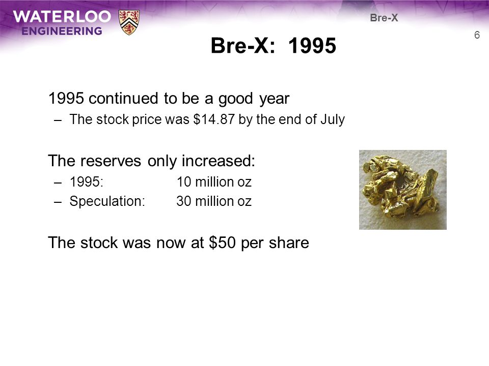 Bre-X: 1995 1995 continued to be a good year