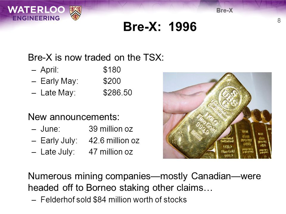 Bre-X: 1996 Bre-X is now traded on the TSX: New announcements: