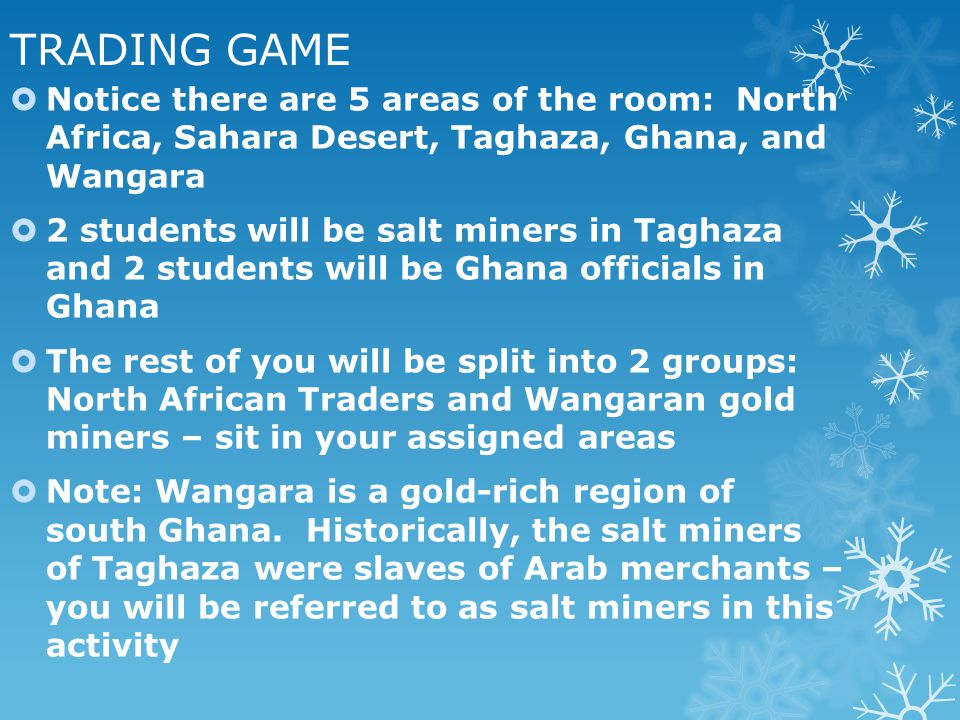 TRADING GAME Notice there are 5 areas of the room: North Africa, Sahara Desert, Taghaza, Ghana, and Wangara.