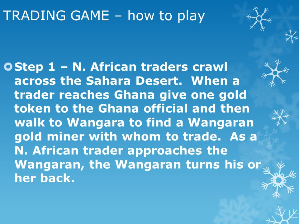 TRADING GAME – how to play