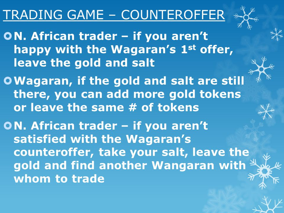 TRADING GAME – COUNTEROFFER