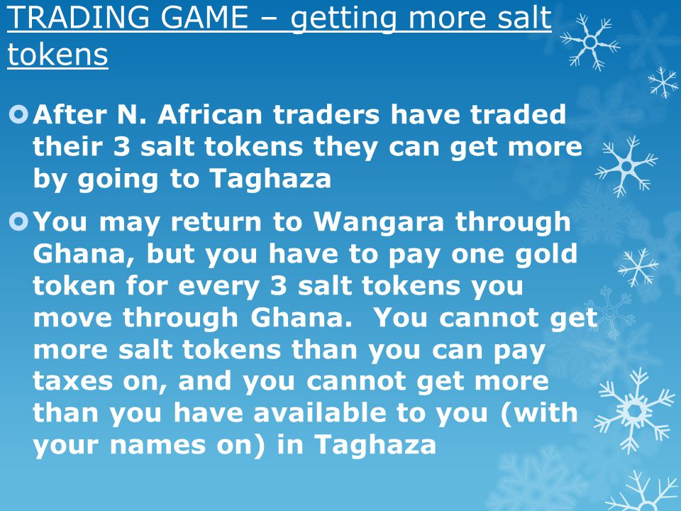 TRADING GAME – getting more salt tokens