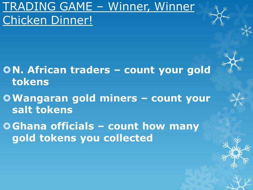TRADING GAME – Winner, Winner Chicken Dinner!