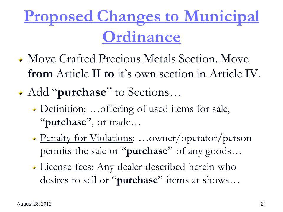 Proposed Changes to Municipal Ordinance