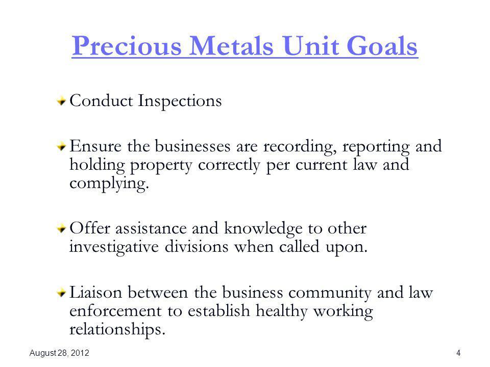 Precious Metals Unit Goals