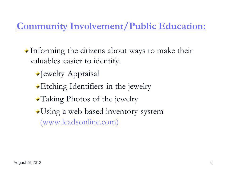 Community Involvement/Public Education: