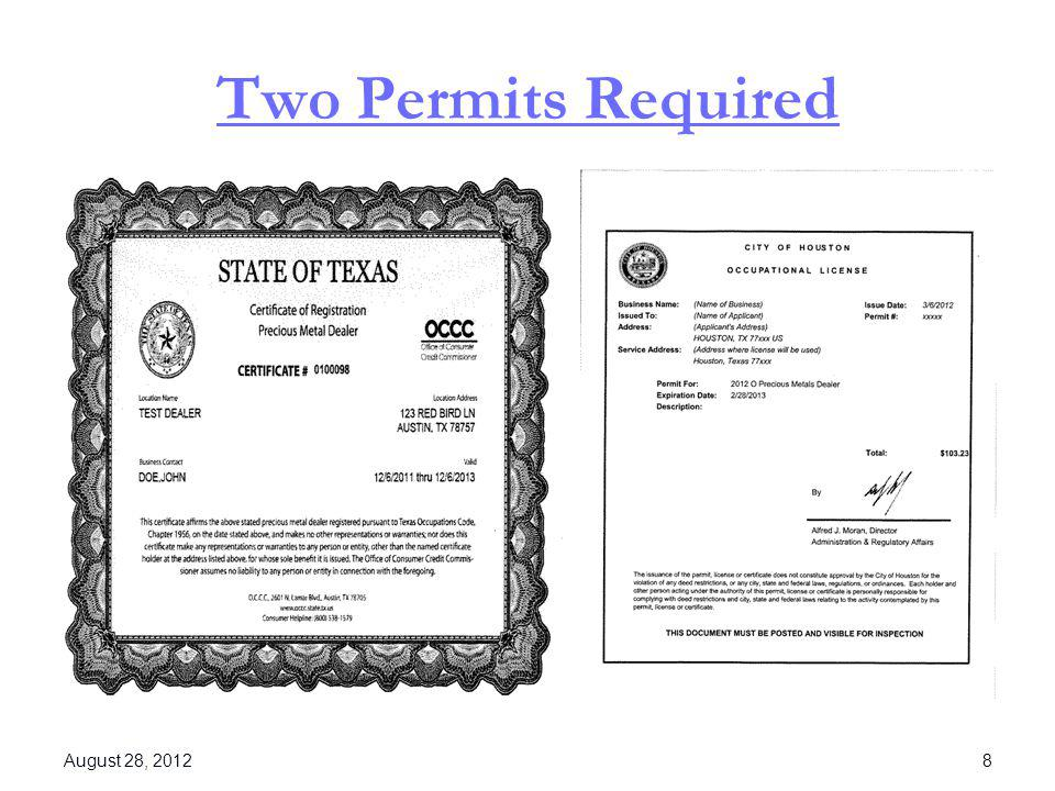 Two Permits Required August 28, 2012