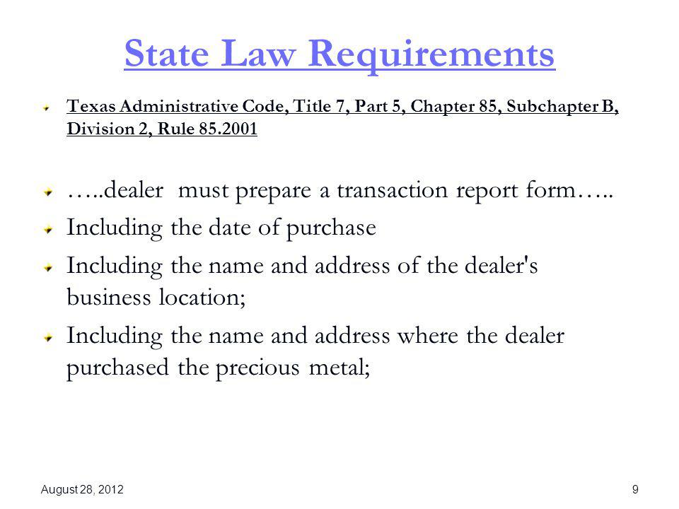 State Law Requirements