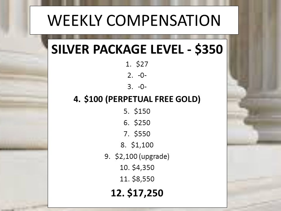 SILVER PACKAGE LEVEL - $350 $100 (PERPETUAL FREE GOLD)