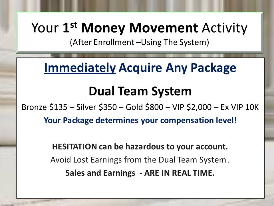 Your 1st Money Movement Activity (After Enrollment –Using The System)