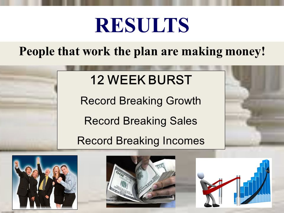 People that work the plan are making money!