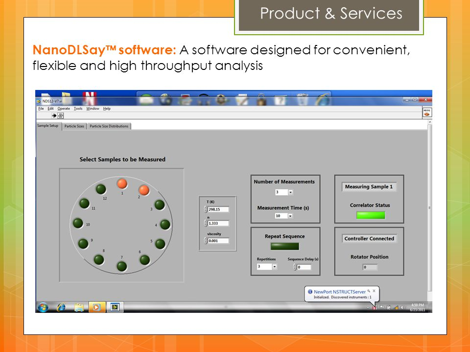 Product & Services NanoDLSay™ software: A software designed for convenient, flexible and high throughput analysis.
