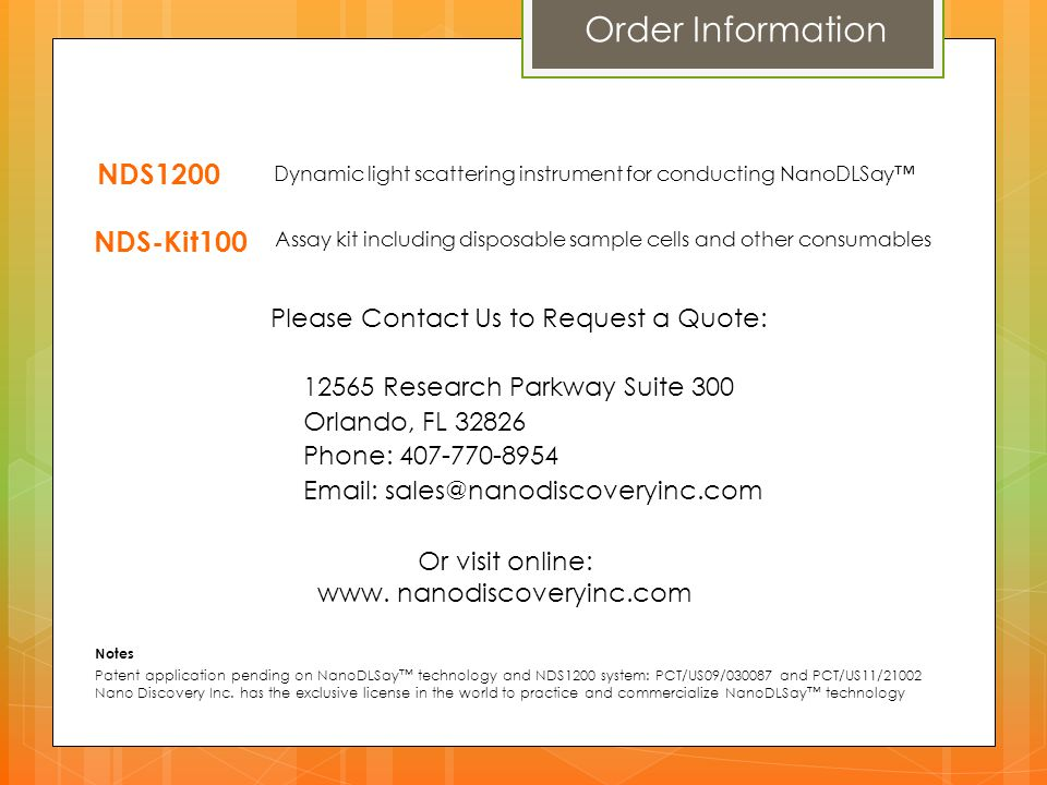 Order Information NDS1200 NDS-Kit100