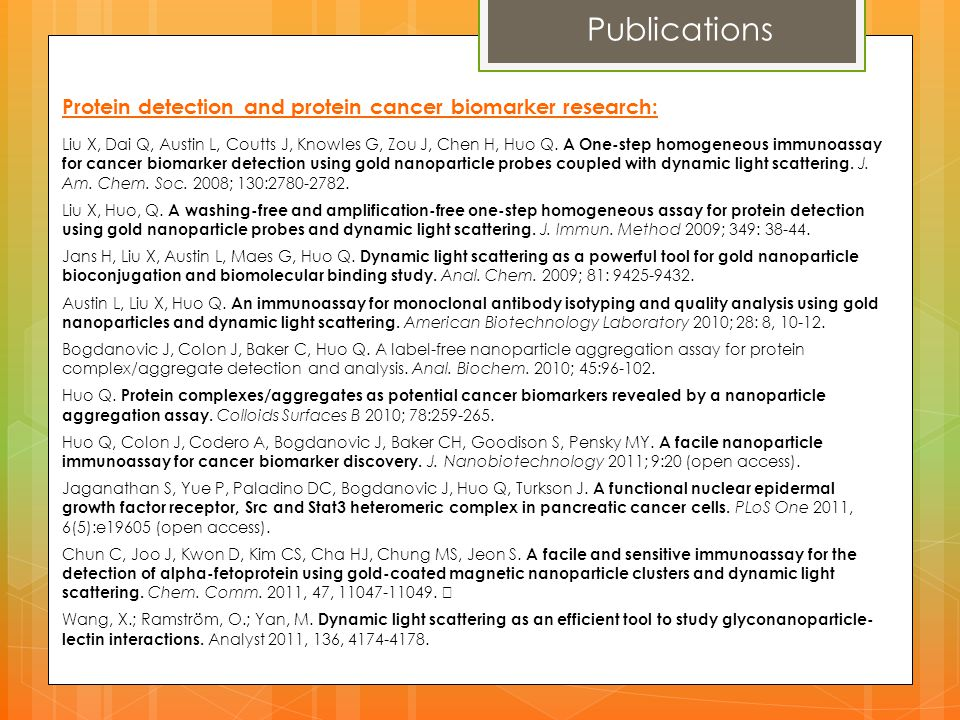 Publications Protein detection and protein cancer biomarker research: