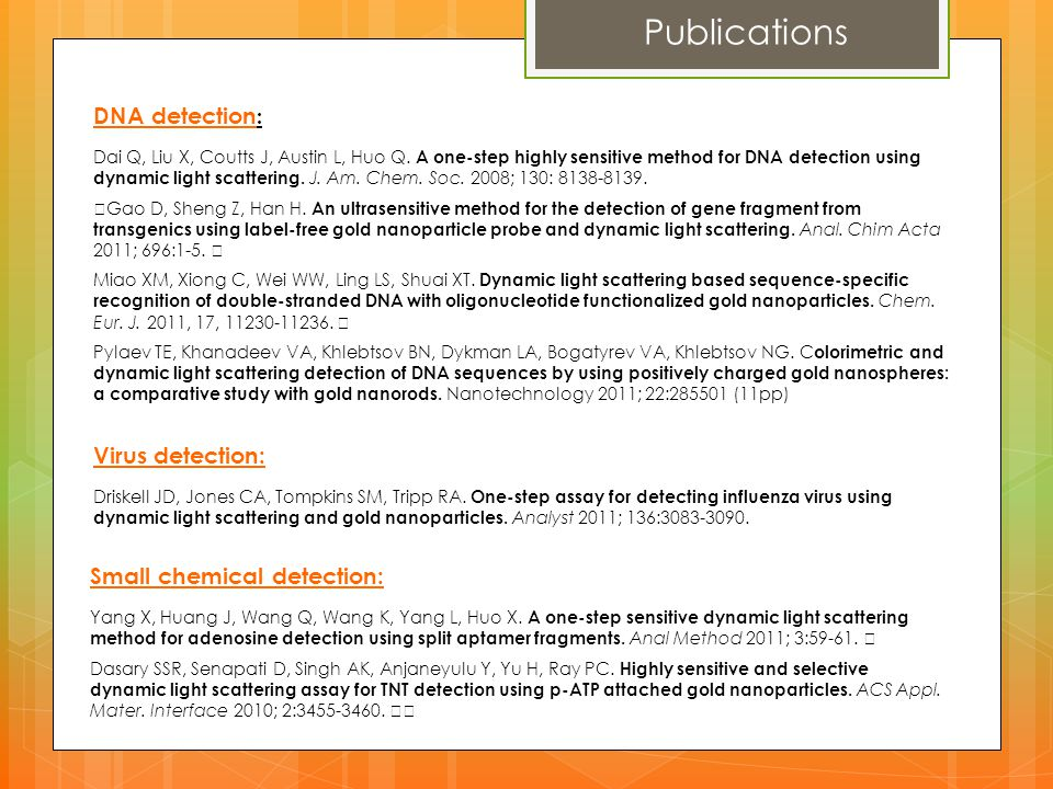 Publications DNA detection: Virus detection: Small chemical detection: