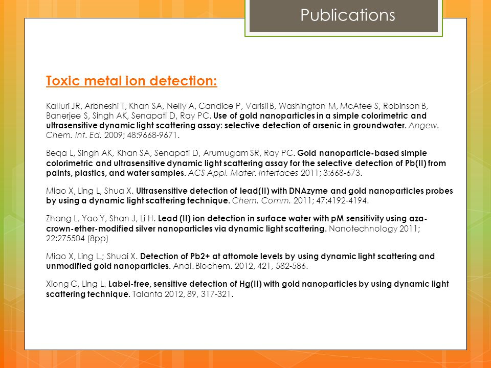 Publications Toxic metal ion detection: