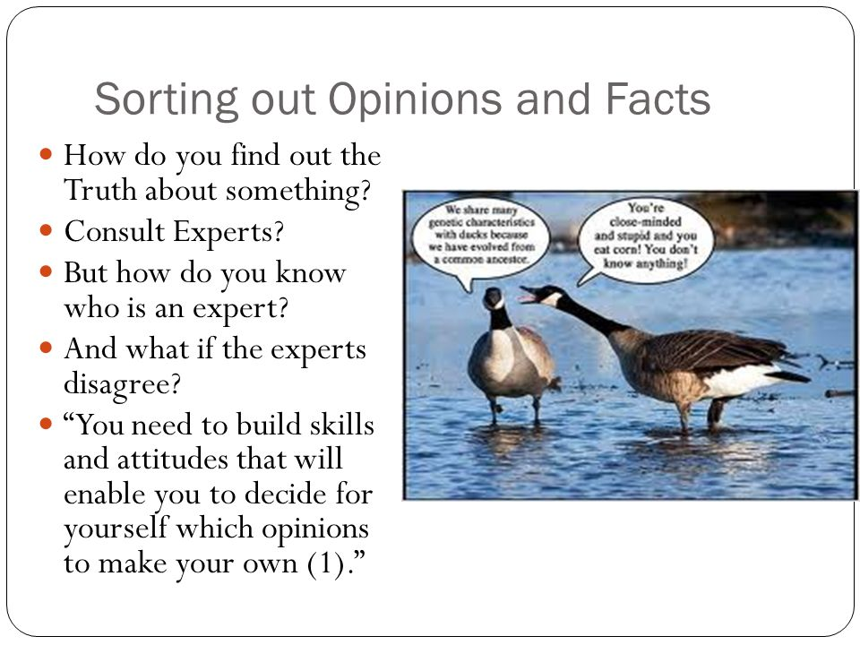 Sorting out Opinions and Facts