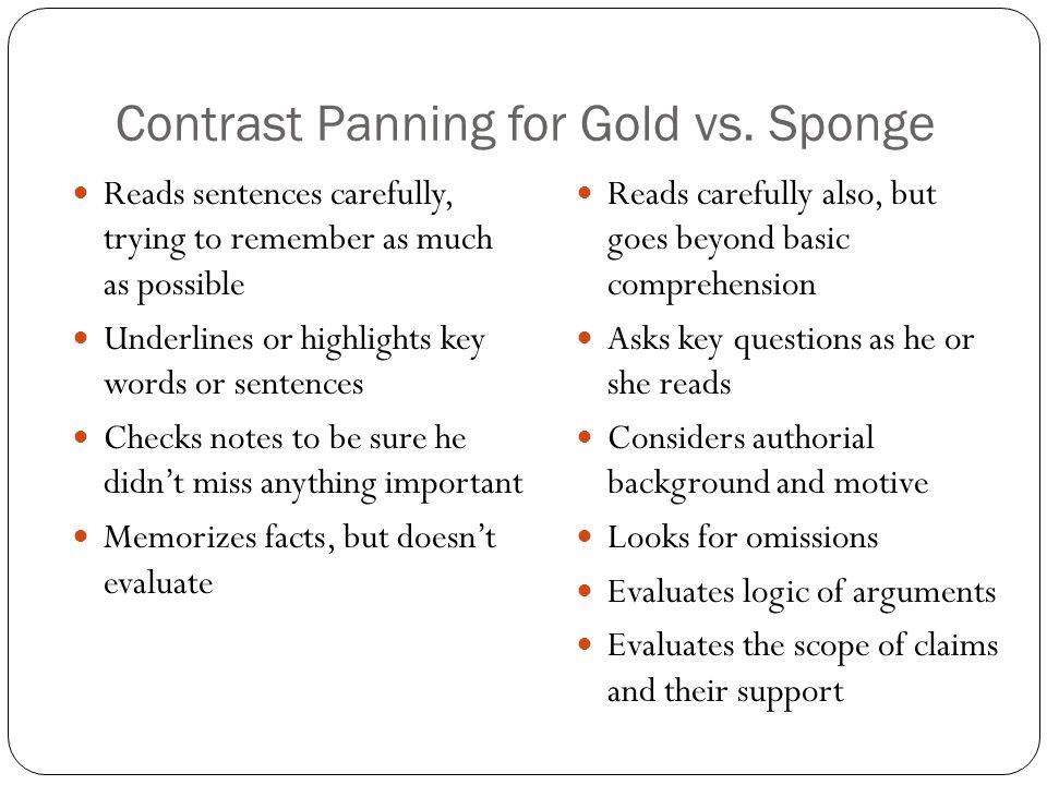 Contrast Panning for Gold vs. Sponge