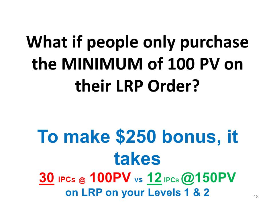 What if people only purchase the MINIMUM of 100 PV on their LRP Order
