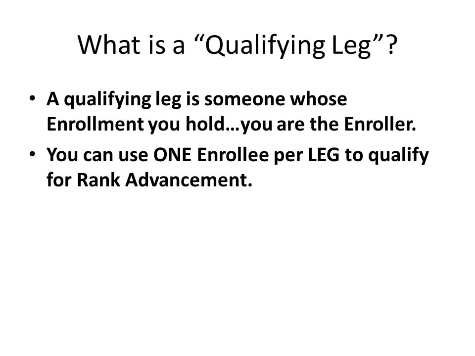 What is a Qualifying Leg