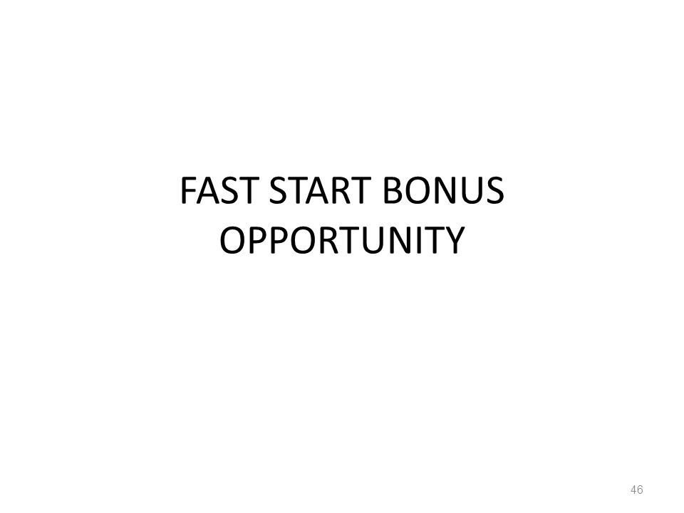 FAST START BONUS OPPORTUNITY