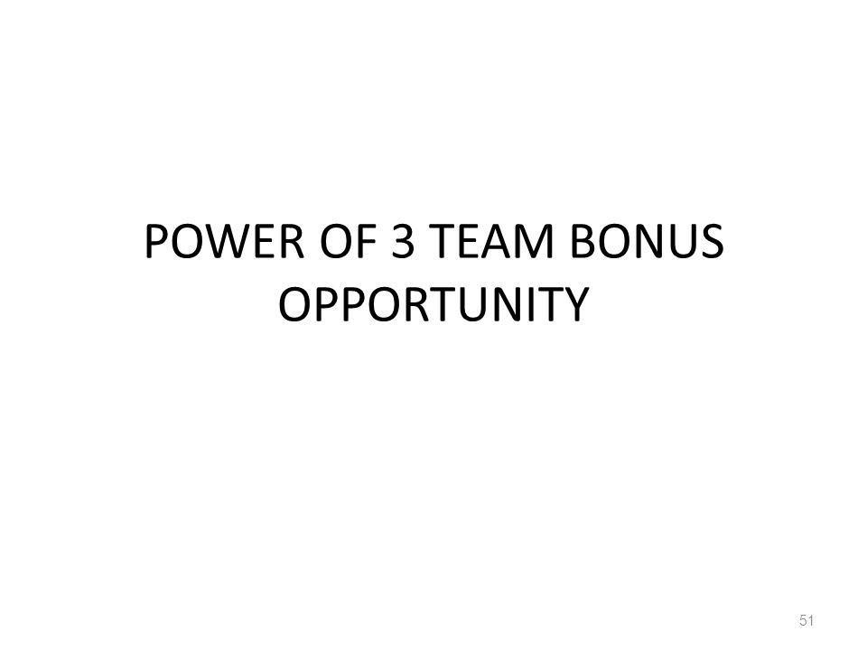 POWER OF 3 TEAM BONUS OPPORTUNITY