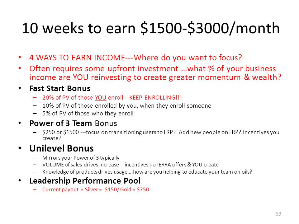 10 weeks to earn $1500-$3000/month