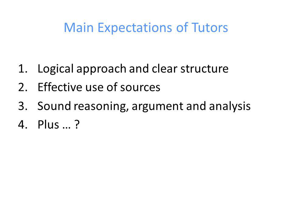 Main Expectations of Tutors