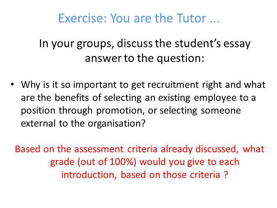 Exercise: You are the Tutor ...