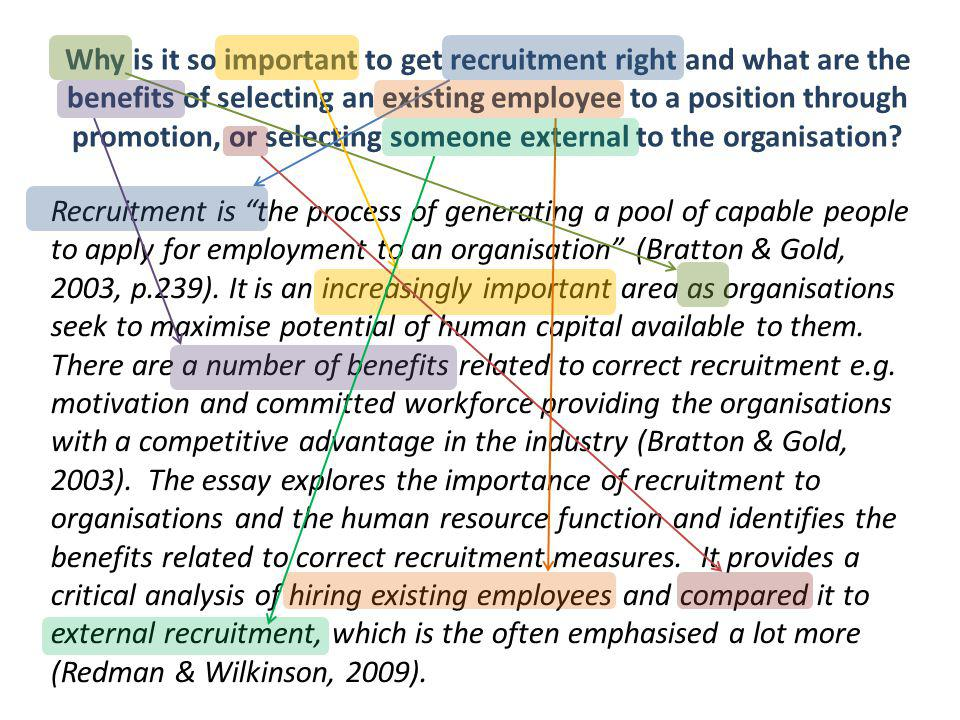 Why is it so important to get recruitment right and what are the benefits of selecting an existing employee to a position through promotion, or selecting someone external to the organisation