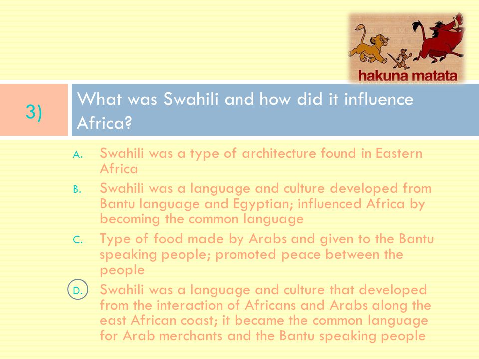 What was Swahili and how did it influence Africa