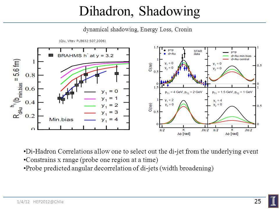 Dihadron, Shadowing dynamical shadowing, Energy Loss, Cronin. (Qiu, Vitev PLB632:507,2006)