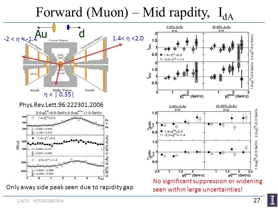 Forward (Muon) – Mid rapdity, IdA