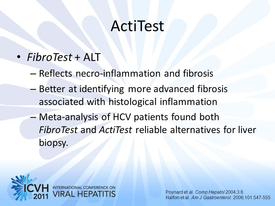 ActiTest FibroTest + ALT Reflects necro-inflammation and fibrosis