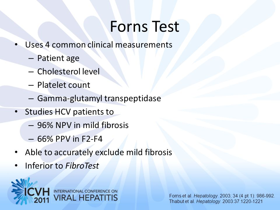Forns Test Uses 4 common clinical measurements Patient age