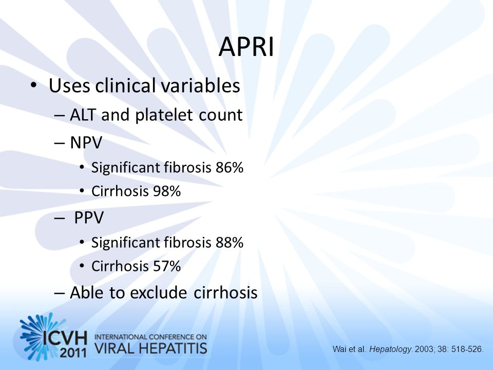 APRI Uses clinical variables ALT and platelet count NPV PPV