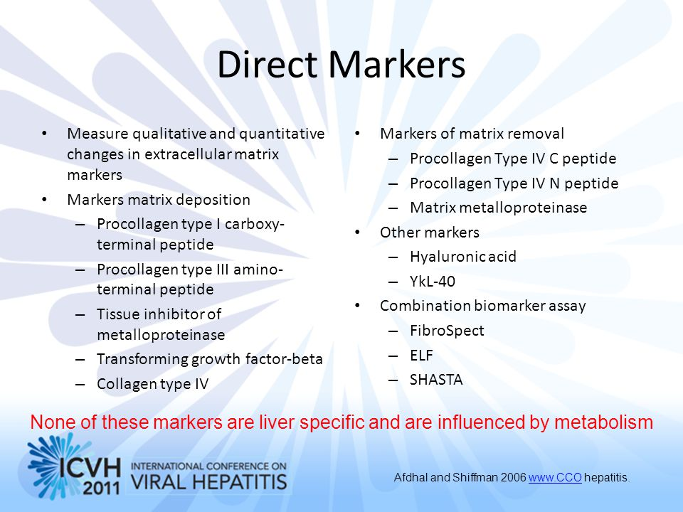 Direct Markers Measure qualitative and quantitative changes in extracellular matrix markers. Markers matrix deposition.