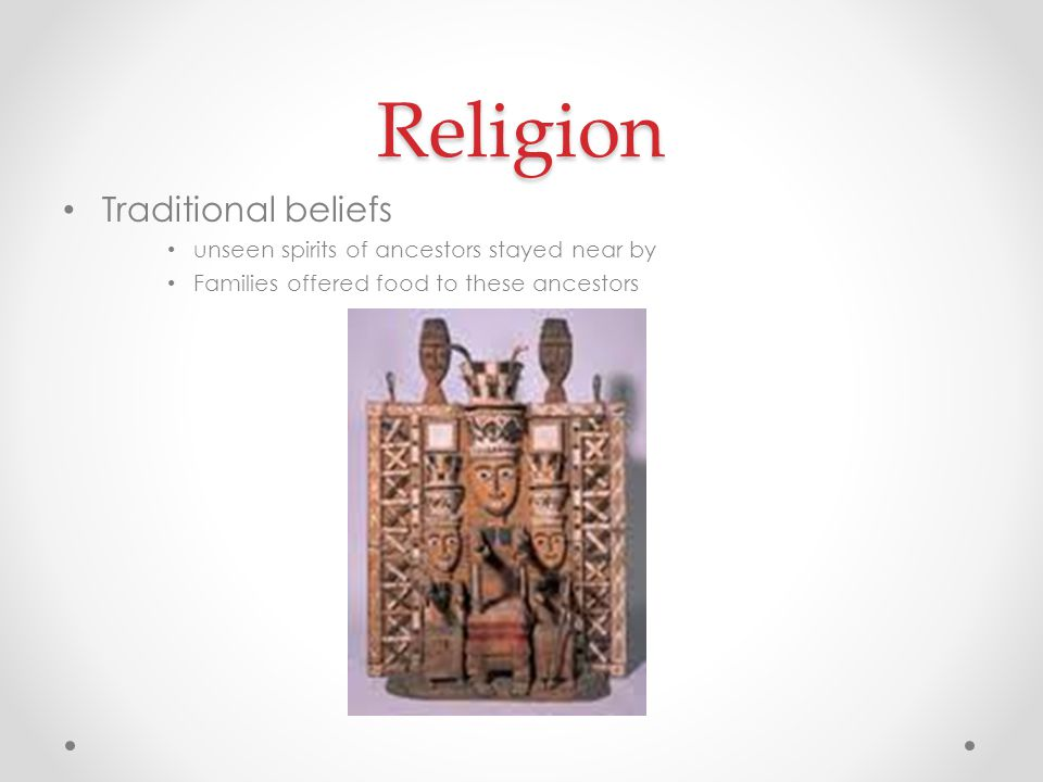 Religion Traditional beliefs