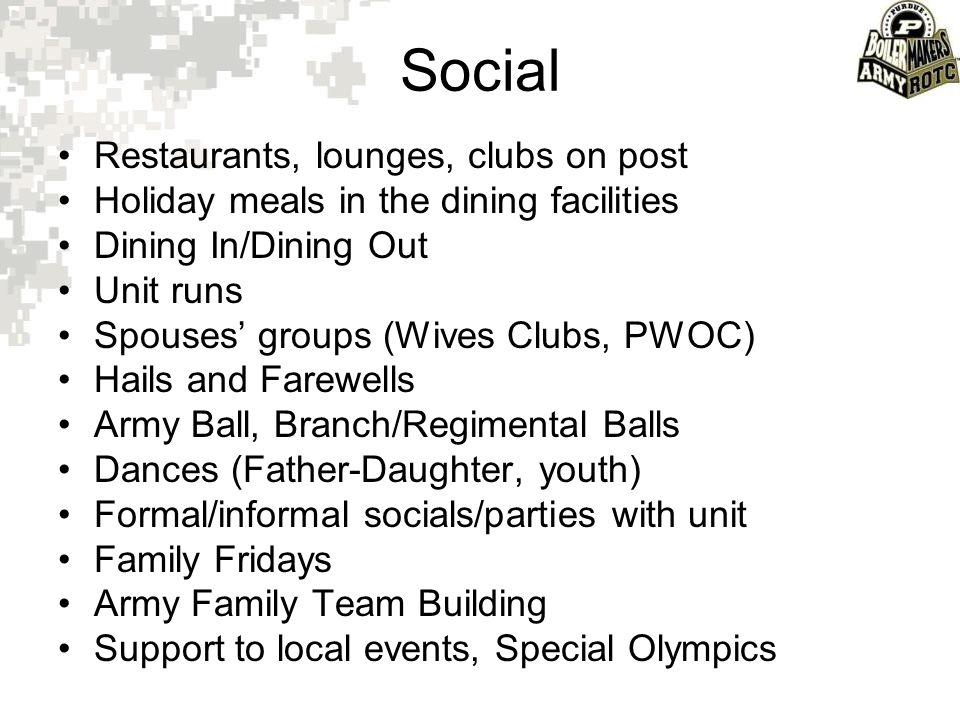 Social Restaurants, lounges, clubs on post